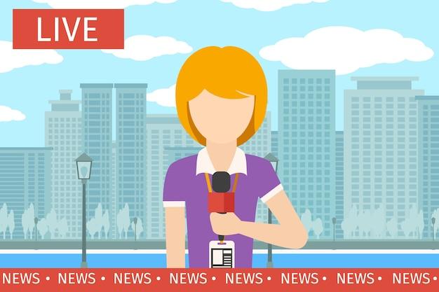 Kobieta reporterka wiadomości. dziennikarz media, telewizja i mikrofon, transmisje telewizyjne, ilustracja wektorowa profesjonalnej komunikacji