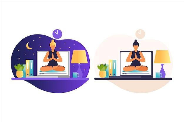 Kobieta robi ćwiczenia jogi. koncepcja internetowych kursów jogi. wellness i zdrowy tryb życia w domu. zajęcia jogi z trenerem online. kobieta prowadzi zajęcia zdalnie. ilustracja wektorowa w mieszkaniu.