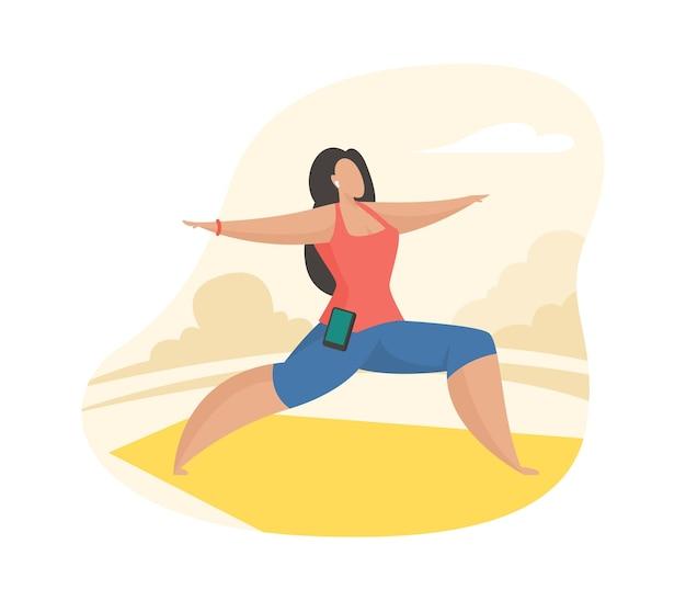 Kobieta robi ćwiczenia jogi na świeżym powietrzu. postać z kreskówki kobiece robienie zajęć fitness na świeżym powietrzu. sport zdrowy styl życia. płaska ilustracja wektorowa