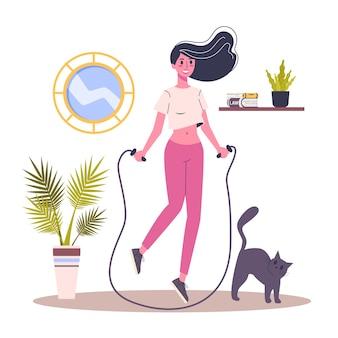 Kobieta robi ćwiczenia sportowe z skakanka. idea zdrowego i aktywnego stylu życia. ilustracja w stylu kreskówki