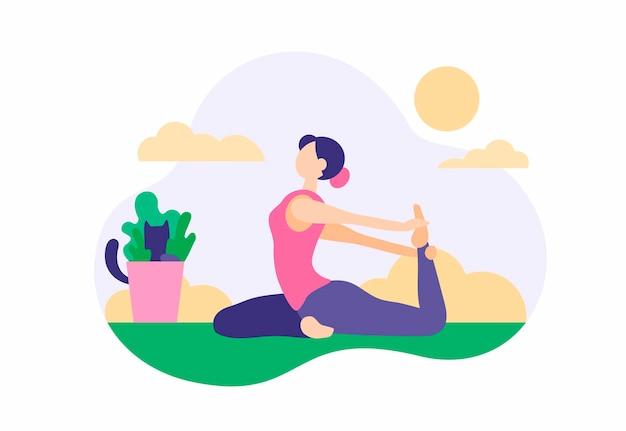 Kobieta robi ćwiczenia w domu. piękna dziewczyna w sportowych legginsach rozciąga się na zielony dywan z aktywną praktyką jogi. przydatne poranne fitness dla tonizującego ciała. ilustracja kreskówka wektor