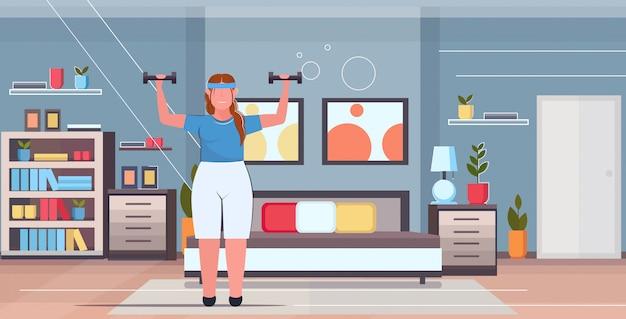 Kobieta robi ćwiczenia z hantlami nadwagą dziewczyna szkolenia trening odchudzanie koncepcja nowoczesny dom sypialnia wnętrze płaskie pełnej długości poziomej