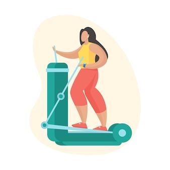 Kobieta robi ćwiczenia z orbitrekiem. sprzęt do uprawiania sportów na świeżym powietrzu. kobieca postać z kreskówki w sportowej robi ćwiczenia cardio. płaska ilustracja wektorowa