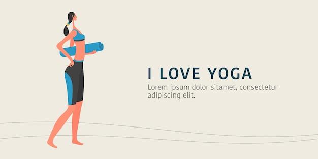 Kobieta robi ilustracja jogi, młoda postać żeńska trzyma sztandar maty do jogi