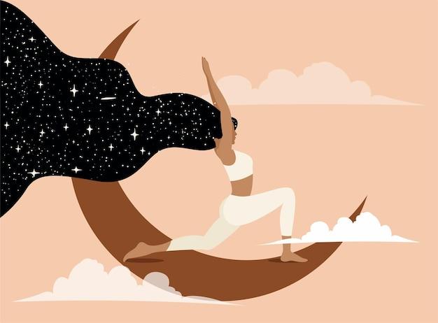 Kobieta robi joga na księżycu koncepcyjna ilustracja