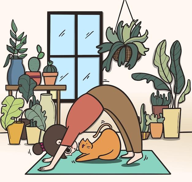 Kobieta robi joga, pobyt w domu i koncepcja ćwiczeń.