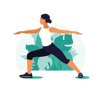Kobieta robi joga pozycji. koncepcja zdrowego stylu życia i jogi. ilustracja w stylu płaski.