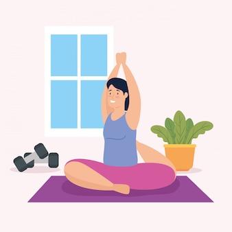 Kobieta robi joga w domowym wektorowym ilustracyjnym projekcie