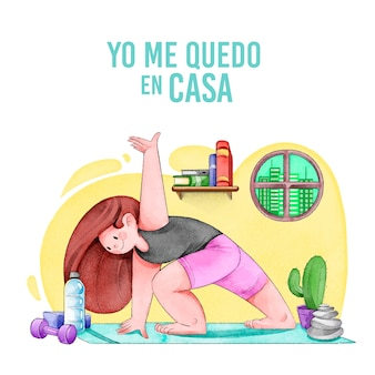 Kobieta robi joga w domu