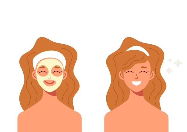 Kobieta robi maseczkę zabieg kosmetyczny. ilustracja