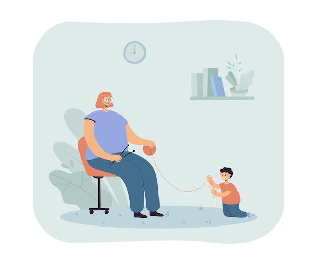 Kobieta robi na drutach obok swojego małego synka. płaska ilustracja