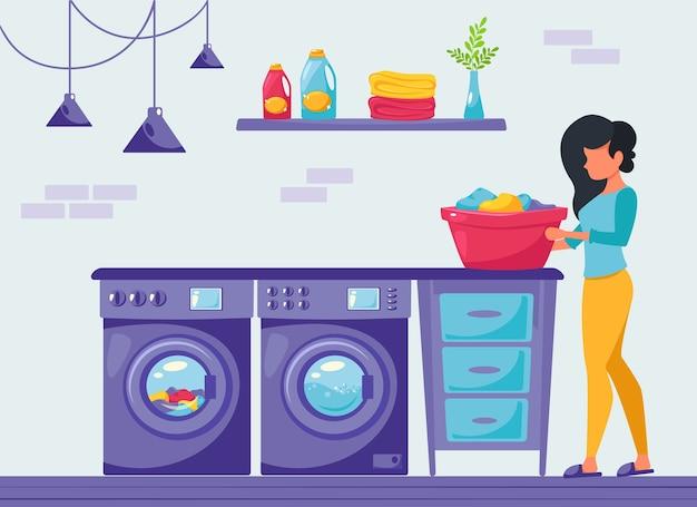 Kobieta robi pranie w domu. koncepcja sprzątania domu. nowoczesne wnętrze. ilustracja w stylu płaski.