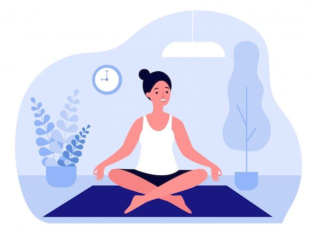 Kobieta robi ranku joga ilustraci w domu