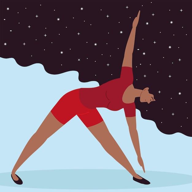 Kobieta robi rozciąganie jogi