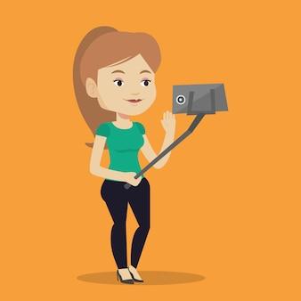 Kobieta robi selfie wektoru ilustraci.