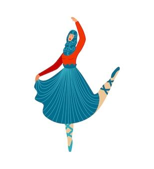Kobieta robi taniec sportowy, piękny balet, wdzięczna baletnica umiejętności
