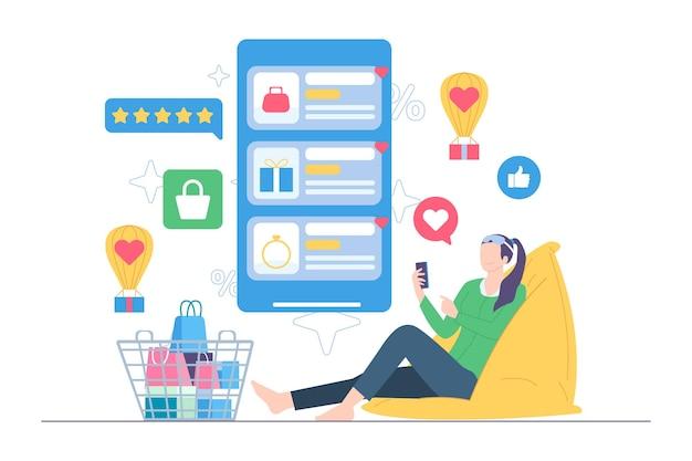 Kobieta robi zakupy na ilustracji e-commerce