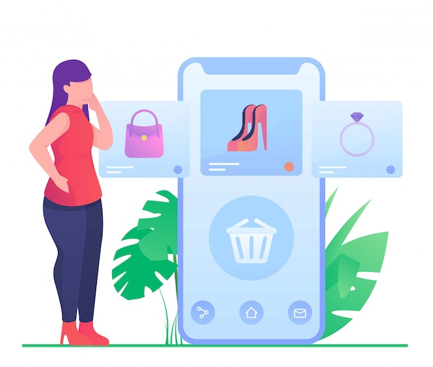 Kobieta robi zakupy na mobilnej ilustraci