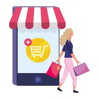 Kobieta robi zakupy online ilustrację