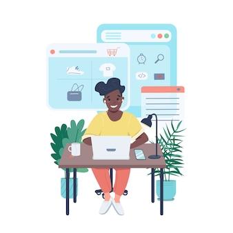 Kobieta robi zakupy online płaski kolor szczegółowy charakter. szczęśliwa kobieta kupuje ubrania w internecie. e-commerce ilustracja kreskówka na białym tle do projektowania grafiki internetowej i animacji