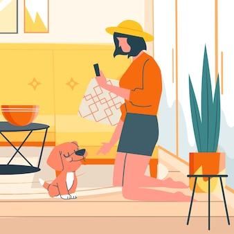 Kobieta robi zdjęcie swojemu psu