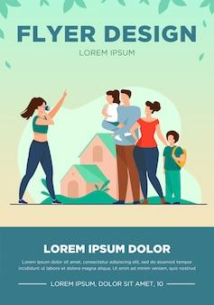Kobieta robi zdjęcie szczęśliwej rodziny. dziecko, dom, ilustracja wektorowa płaski rodzic. koncepcja szczęścia i wspólnoty
