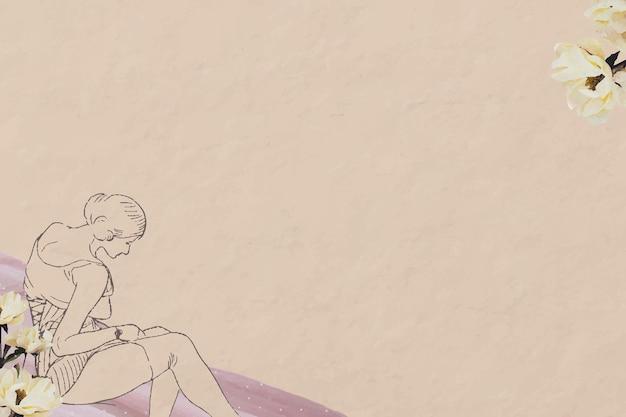 Kobieta rocznika beżowe tło