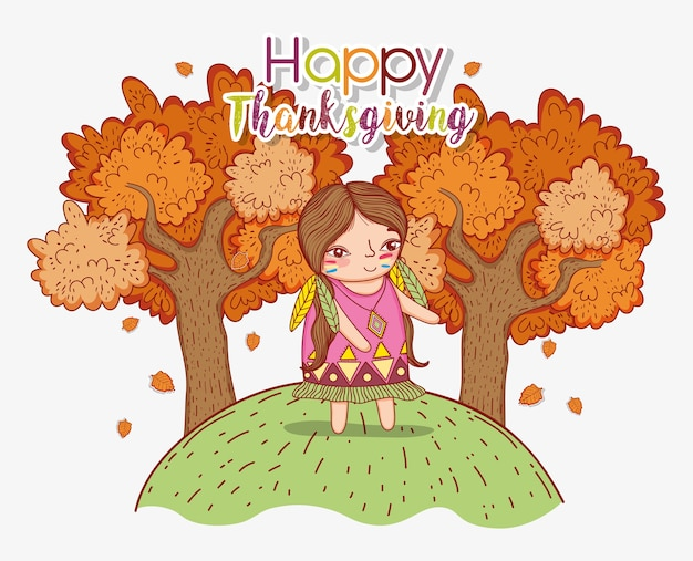 Kobieta rodzima z jesiennych drzew i liści