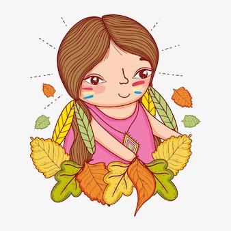 Kobieta rodzima z piórami i jesiennych liści