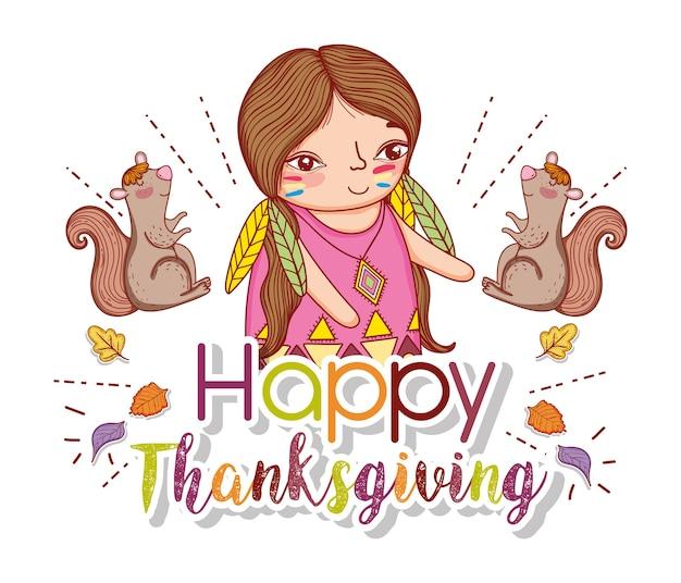 Kobieta rodzima z wiewiórkami i liśćmi do świętowania dziękczynienia