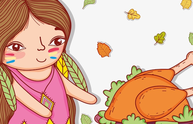 Kobieta rodzima z żywnością z indyka i liśćmi