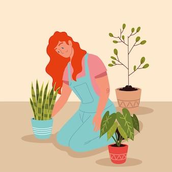 Kobieta roślina w doniczkach