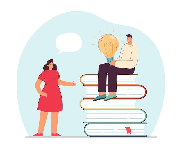 Kobieta rozmawia z mężczyzną siedzącym na stercie książek. płaska ilustracja