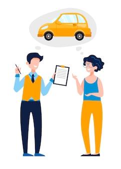 Kobieta rozmawiająca z instruktorem nauki jazdy, który daje pozwolenie na prowadzenie koncepcji szkoły nauki jazdy