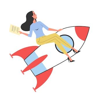 Kobieta rozpoczyna nowy projekt. idea startupu, rakieta