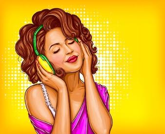 Kobieta słuchania muzyki w słuchawkach wektora sztuki pop