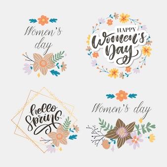 Kobieta s dzień i cześć wiosna tekst projektu z kwiatami