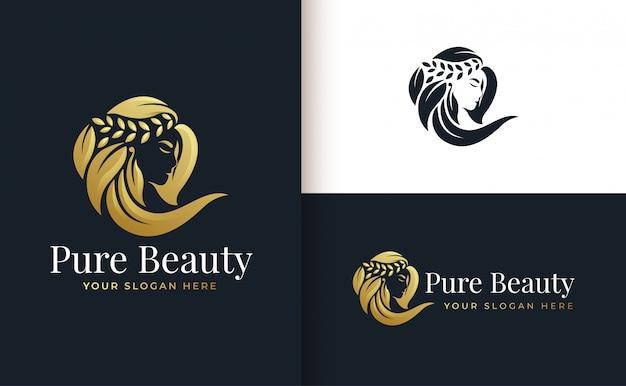 Kobieta salon fryzjerski złoto gradientu projektowanie logo