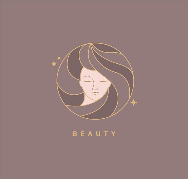 Kobieta salon piękności moda szablon logo. projekt w minimalistycznym stylu, godło dla studia urody i kosmetyków, odznaka do makijażu, twarz piękna kobieta twarz we włosach. ilustracja wektorowa.
