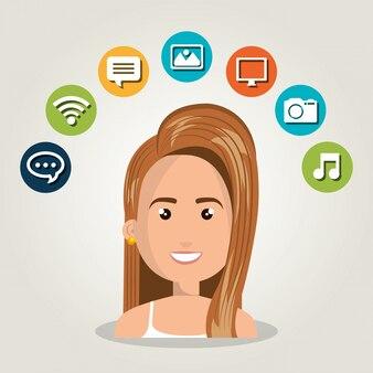 Kobieta sieci online na białym tle