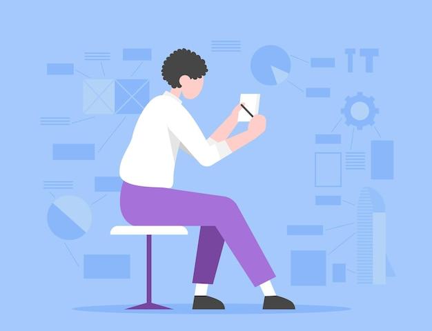 Kobieta siedząca na krześle i rysująca pomysł na startup inwestor wybiera odpowiedni pomysł