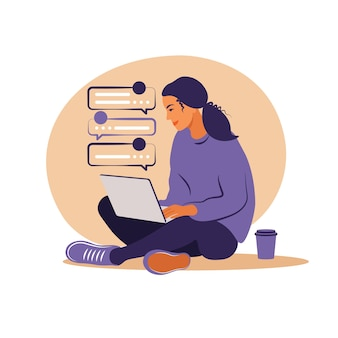 Kobieta siedząca z laptopem. ilustracja koncepcja pracy, nauki, edukacji, pracy w domu, zdrowego stylu życia