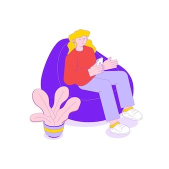 Kobieta siedząca ze smartfonem w miękkim fotelu 3d izometryczny