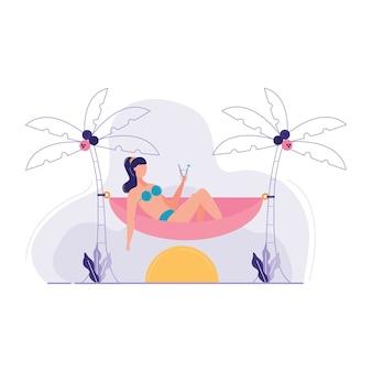 Kobieta siedzi hamak wokół ilustracji wektorowych morze