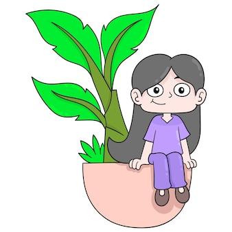 Kobieta siedzi na drzewie bananowym w doniczce witającej wiosny, ilustracji wektorowych sztuki. doodle ikona obrazu kawaii.