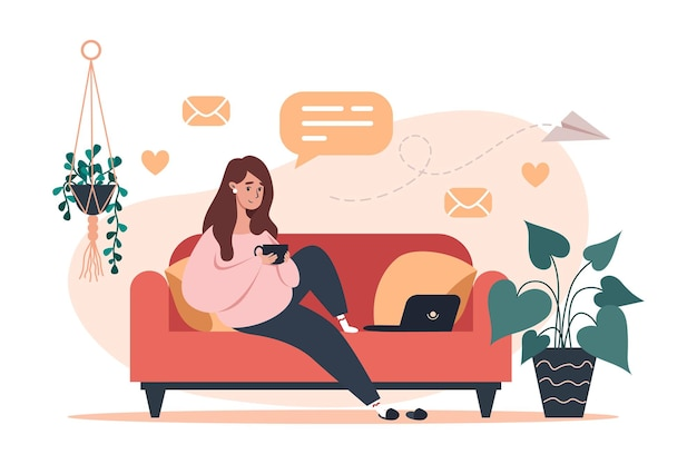 Kobieta siedzi na kanapie i pracuje na ilustracji laptopa