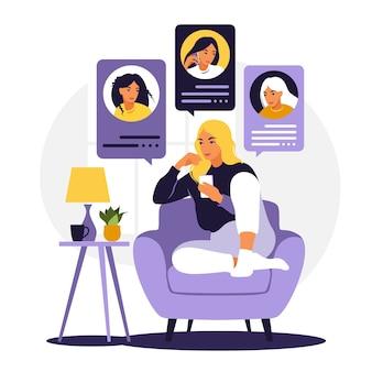 Kobieta siedzi na kanapie z telefonem. przyjaciele rozmawiają przez telefon. czatuj z przyjaciółmi. płaski styl. ilustracja na białym tle.