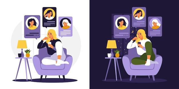 Kobieta siedzi na kanapie z telefonem. przyjaciele rozmawiają przez telefon dzień i noc. czatuj z przyjaciółmi. płaski styl. ilustracja na białym tle.