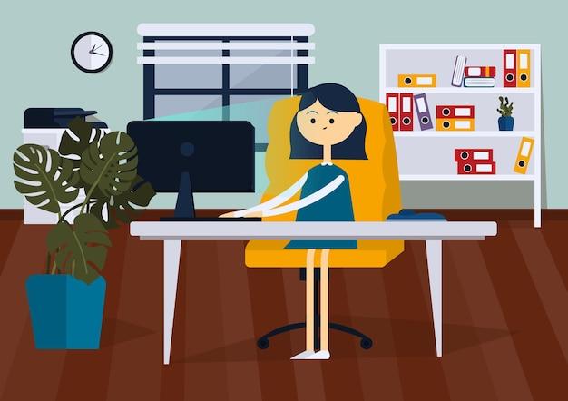 Kobieta siedzi na krześle biurowym przy biurku komputerowym kolorowa kreskówka wektor