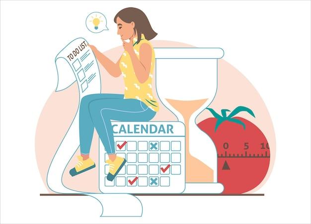 Kobieta siedzi na ogromny kalendarz i sprawdzanie listy zadań z zadaniami, ilustracja wektorowa płaskie. zarządzanie czasem, planowanie, harmonogramowanie.